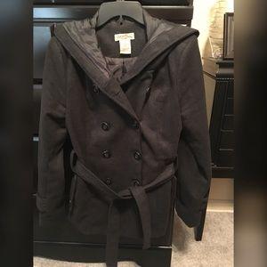 L - Black - Pea Coat w/hood